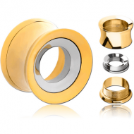 GOLD PVD COATED STAINLESS STEEL DOUBLE FLARED THREADED TUNNEL FOR REMOVABLE INSERT EMPTY PART
