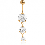 GOLD PVD COATED SURGICAL STEEL TRIPLE ROUND CZ JEWELLED WITH DANGLING NAVEL BANANA