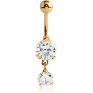 GOLD PVD COATED SURGICAL STEEL DOUBLE ROUND CZ JEWELLED WITH DANGLING NAVEL BANANA