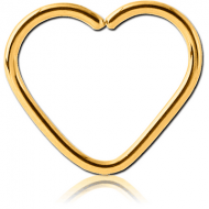 GOLD PVD COATED SURGICAL STEEL OPEN HEART SEAMLESS RING PIERCING