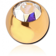 GOLD PVD COATED SURGICAL STEEL SWAROVSKI CRYSTAL JEWELLED BALL