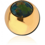 GOLD PVD COATED SURGICAL STEEL JEWELLED MICRO BALL WITH SYNTHETIC OPAL