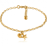 GOLD PVD COATED SURGICAL STEEL OVAL ROLLO CHAIN ANKLET WITH CHARM - SEASHELL STARFISH