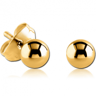 GOLD PVD COATED SURGICAL STEEL EAR STUDS PAIR - BALL 3MM