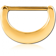 GOLD PVD COATED SURGICAL STEEL NIPPLE CLICKER - PLAIN PIERCING