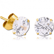 GOLD PVD COATED SURGICAL STEEL ROUND PRONG SET JEWELLED EAR STUDS PAIR