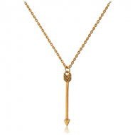 STERLING SILVER 925 GOLD PVD COATED NECKLACE WITH PENDANT - ARROW