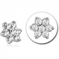 SURGICAL STEEL JEWELED ATTACHMENT FOR 1.6MM INTERNALLY THREADED PINS - FLOWER