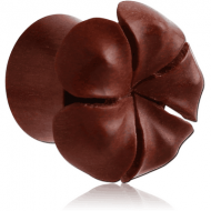 ORGANIC WOODEN PLUG WOOD-SAWO DOUBLE FLARED CARVED FLOWER
