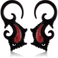 ORGANIC WOODEN CLAW EARRINGS PAIR IRON CORAL INLAID