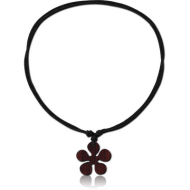 ORGANIC WOODEN PENDANT BLACK WOOD-SONO WITH LEATHER STRING