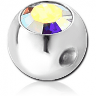 SURGICAL STEEL SWAROVSKI CRYSTAL JEWELLED BALL FOR BALL CLOSURE RING PIERCING