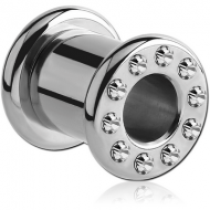 STAINLESS STEEL JEWELLED ROUND-EDGE THREADED TUNNEL