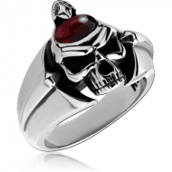 SURGICAL STEEL KOOL KATANA RING WITH GARNET - SKULL