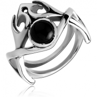 SURGICAL STEEL KOOL KATANA RING WITH ONYX - SPIDER