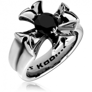 SURGICAL STEEL KOOL KATANA JEWELLED RING - IRON CROSS
