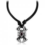 SURGICAL STEEL KOOL KATANA PENDANT WITH LEATHER NECKLACE