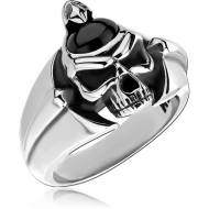 SURGICAL STEEL KOOL KATANA RING WITH ONYX - SKULL