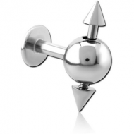 SURGICAL STEEL SPINNER LABRET WITH CONE