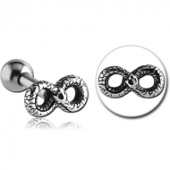SURGICAL STEEL TRAGUS MICRO BARBELL - INFINITY SNAKE PIERCING