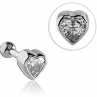 SURGICAL STEEL JEWELED HEART TRAGUS BARBELL PIERCING