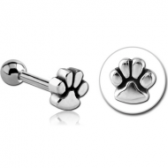 SURGICAL STEEL TRAGUS MICRO BARBELL - PAW PIERCING