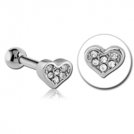 SURGICAL STEEL JEWELLED TRAGUS MICRO BARBELL - HEART PIERCING