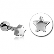 SURGICAL STEEL TRAGUS MICRO BARBELL - STAR PIERCING