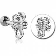 SURGICAL STEEL TRAGUS MICRO BARBELL - SCORPION PIERCING