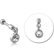 SURGICAL STEEL HELIX MICRO BARBELL WITH JEWELLED CHARM - CIRCLE PIERCING