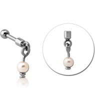 SURGICAL STEEL HELIX MICRO BARBELL WITH SYNTHETIC PEARL CHARM PIERCING
