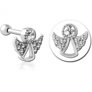 SURGICAL STEEL JEWELLED TRAGUS MICRO BARBELL - ANGLE PIERCING