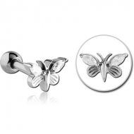 SURGICAL STEEL JEWELLED TRAGUS MICRO BARBELL - BUTTERFLY PIERCING