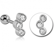 SURGICAL STEEL TRIPLE JEWELLED TRAGUS MICRO BARBELL PIERCING