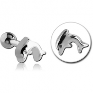 SURGICAL STEEL TRAGUS MICRO BARBELL - DOLPHIN PIERCING