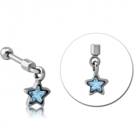 SURGICAL STEEL HELIX MICRO BARBELL WITH JEWELLED CHARM - STAR PIERCING