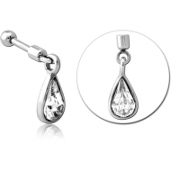 SURGICAL STEEL HELIX MICRO BARBELL WITH JEWELLED CHARM - PAIR DROP PIERCING