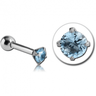 SURGICAL STEEL ROUND PRONG SET JEWELLED TRAGUS MICRO BARBELL PIERCING
