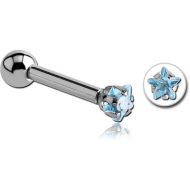 SURGICAL STEEL STAR PRONG SET JEWELED TRAGUS MICRO BARBELL PIERCING