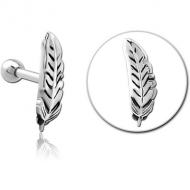 SURGICAL STEEL TRAGUS MICRO BARBELL - LEAF PIERCING