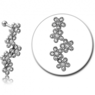 SURGICAL STEEL JEWELLED TRAGUS MICRO BARBELL - FLOWERS PIERCING
