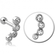 SURGICAL STEEL JEWELLED TRAGUS MICRO BARBELL PIERCING