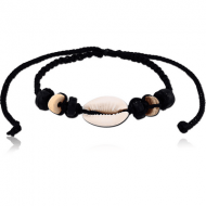 BRACELET NYLON 1.5MM MULTY COLOURS WITH COCO AND COWRIE SHELL