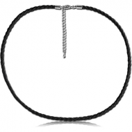 WEAVED IMITATION LEATHER NECKLACE WITH STAINLESS STEEL LOCKER AND EXTENSION CHAIN