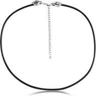 RUBBER NECKLACE WITH SURGICAL STEELLOCKER AND EXTENSION CHAIN