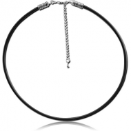 IMITATION LEATHER NECKLACE WITH STAINLESS STEEL LOCKER AND EXTENSION CHAIN
