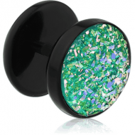 UV ACRYLIC DRUZY RESIN FAKE PLUG HALF BALL PIERCING