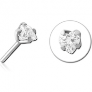 SURGICAL STEEL JEWELLED THREADLESS ATTACHMENT - HEART PIERCING