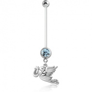 PTFE PREGNANCY NAVEL BANANA WITH STORK CARRYING BABY DANGLING CHARM