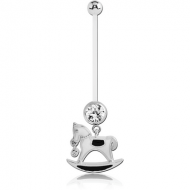 PTFE PREGNANCY NAVEL BANANA WITH ROCKING HORSE DANGLING CHARM